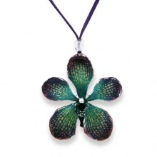 Purple/Green Mokara Orchid Necklace