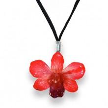 Tiny Red Dendrobium Necklace