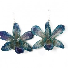 Dendrobium Large Blue Earrings