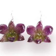 Dendrobium Large Purple/Green Earrings
