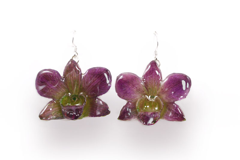 Dendrobium Large Purple/Green Earrings
